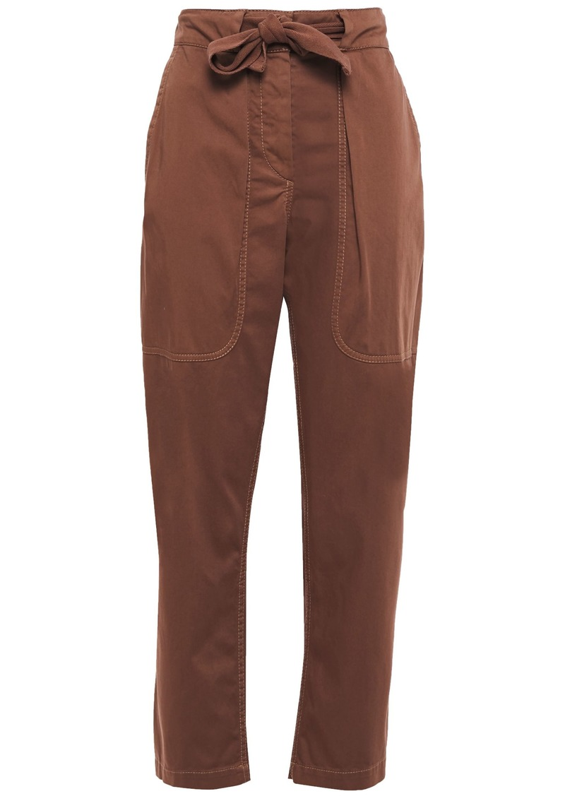 Brunello Cucinelli Woman Cropped Stretch-cotton Tapered Pants Brown