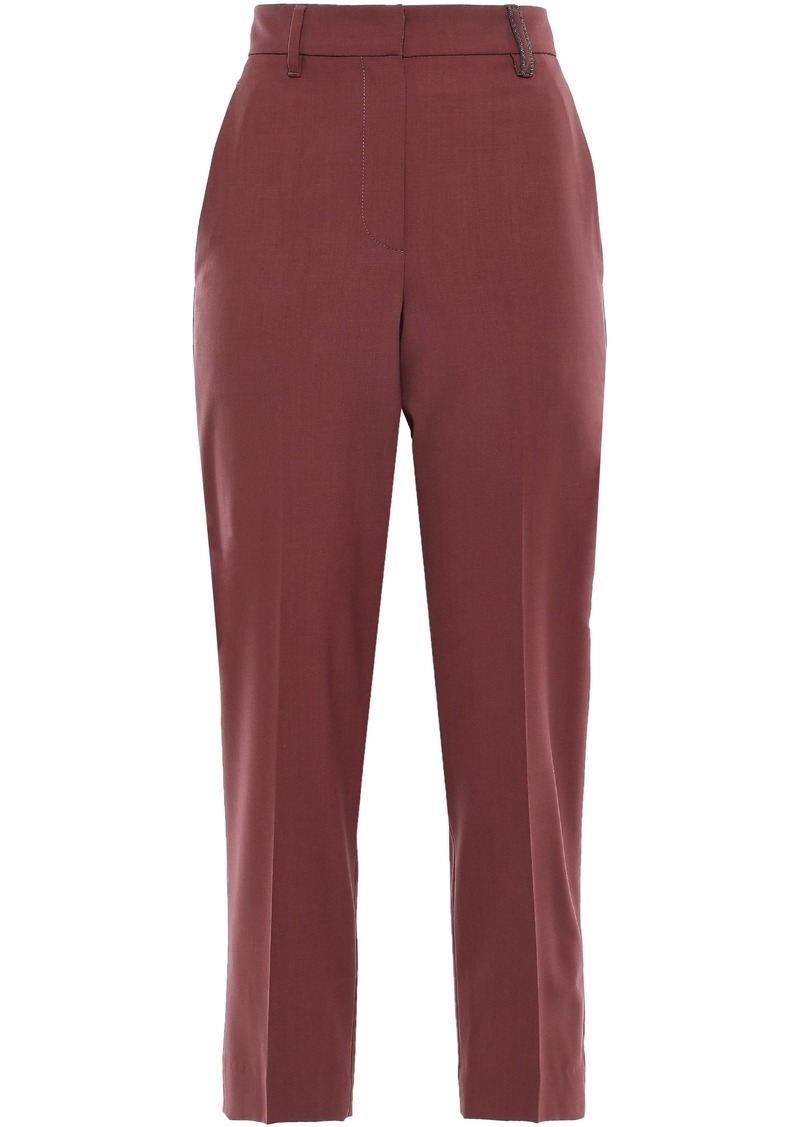 Brunello Cucinelli Woman Cropped Stretch-wool Tapered Pants Brick
