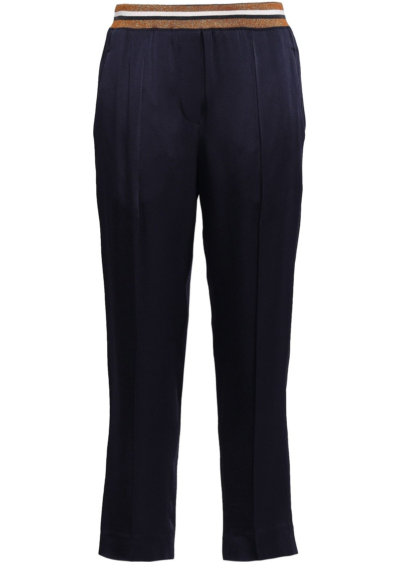 Brunello Cucinelli Woman Striped Crepe-satin Slim-leg Pants Navy