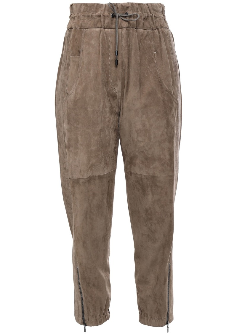 Brunello Cucinelli Woman Cropped Suede Track Pants Mushroom