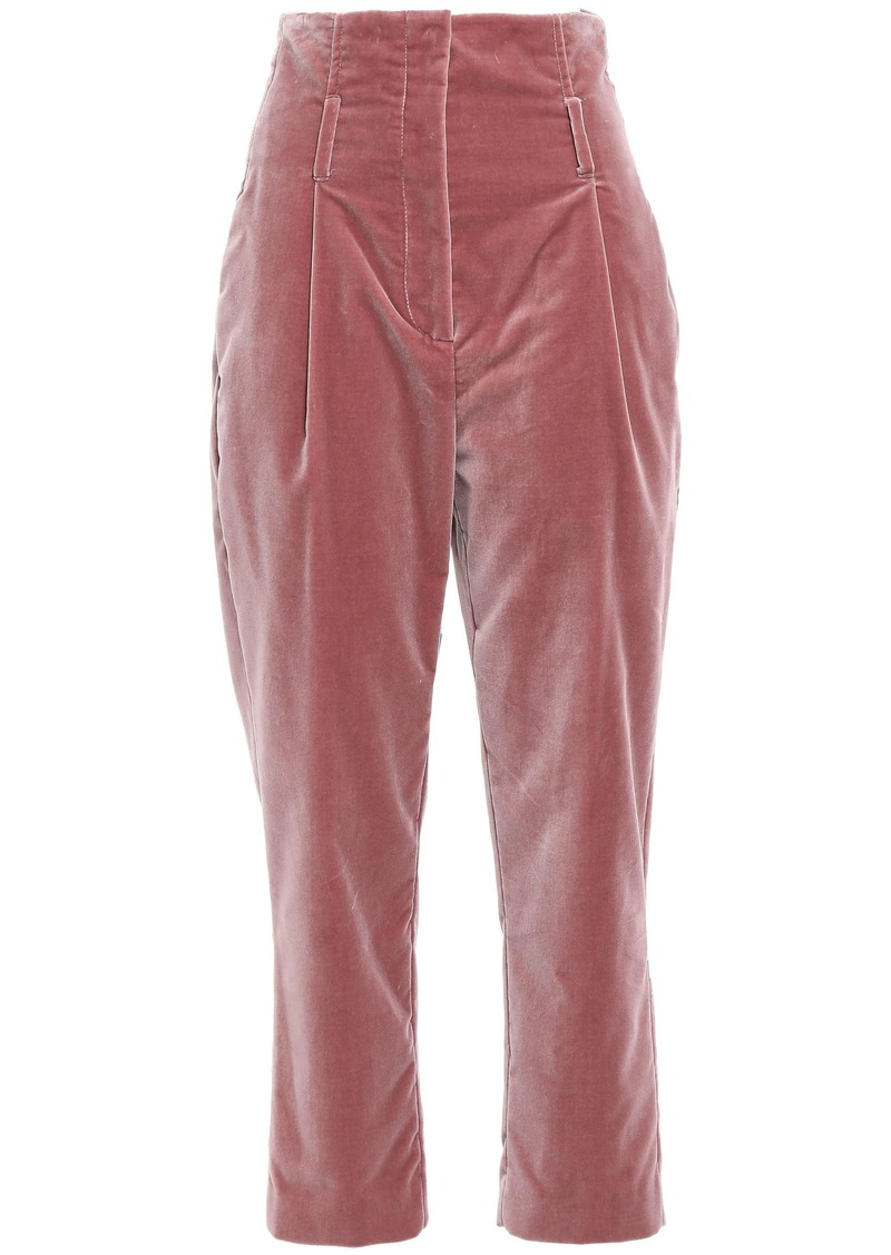 Brunello Cucinelli Woman Cropped Velvet Tapered Pants Antique Rose