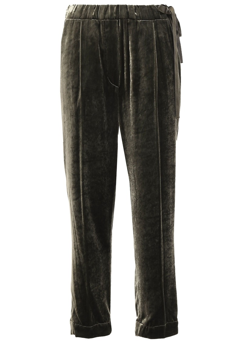 Brunello Cucinelli Woman Cropped Velvet Tapered Pants Army Green