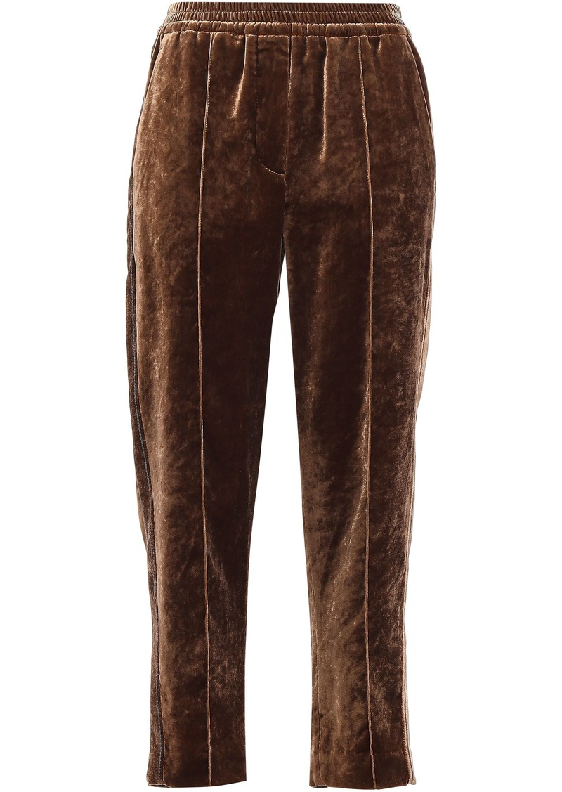 Brunello Cucinelli Woman Bead-embellished Velvet Track Pants Light Brown