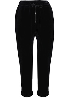 Brunello Cucinelli Woman Cropped Velvet Track Pants Black