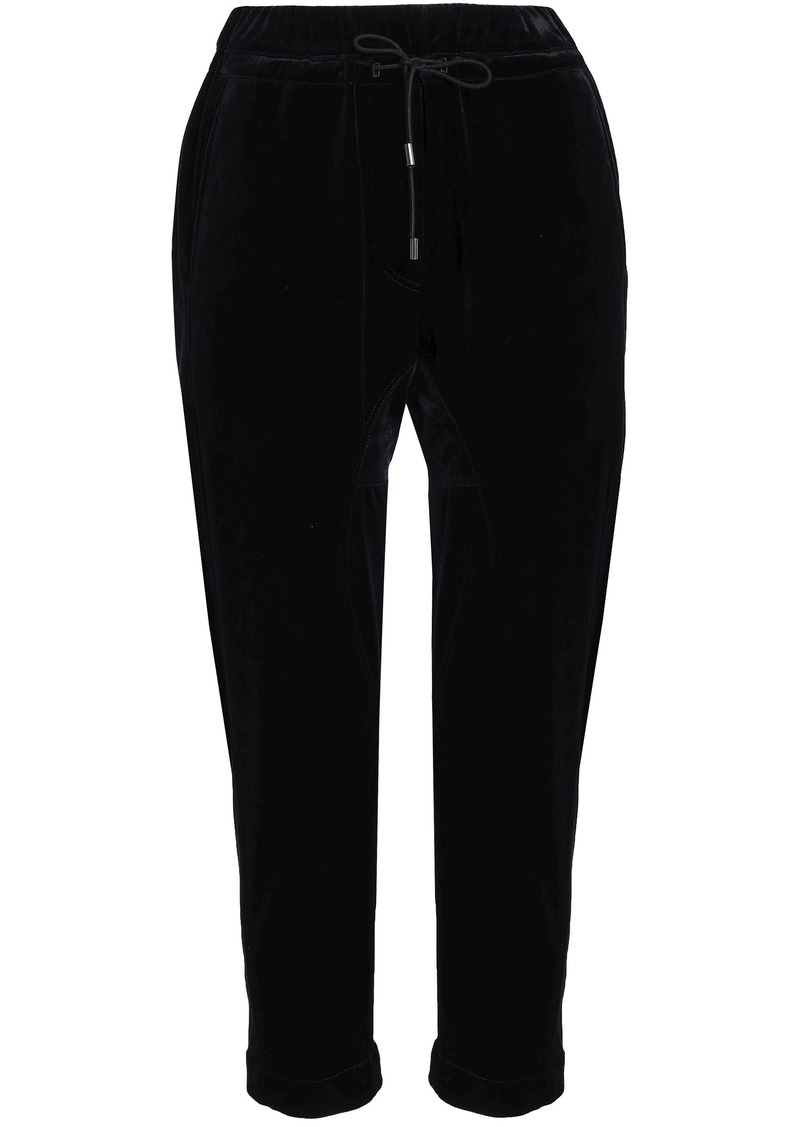 Brunello Cucinelli Woman Cropped Velvet Track Pants Black