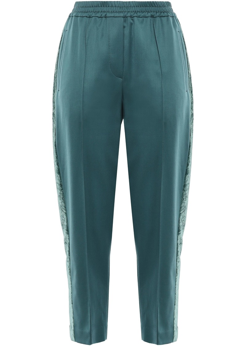 Brunello Cucinelli Woman Cropped Velvet-trimmed Stretch-wool Track Pants Petrol