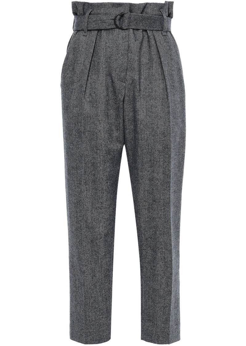 Brunello Cucinelli Woman Cropped Herringbone Wool-blend Tapered Pants Navy
