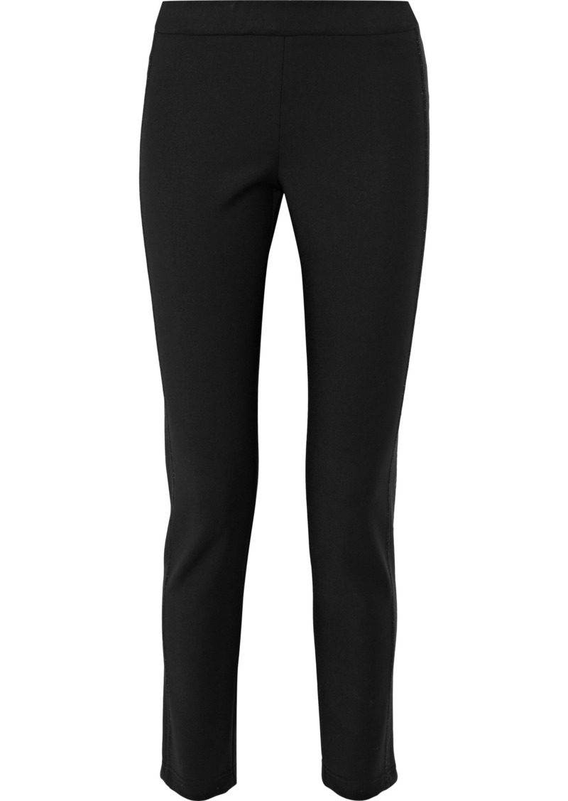 Brunello Cucinelli Woman Cropped Wool-blend Slim-leg Pants Black