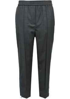 Brunello Cucinelli Woman Cropped Wool Tapered Pants Dark Gray