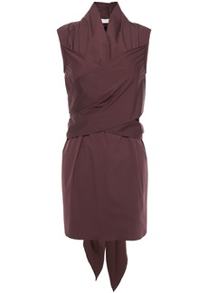 Brunello Cucinelli Woman Crossover Cotton-blend Poplin Tunic Burgundy