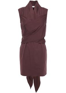 Brunello Cucinelli Woman Crossover Cotton-blend Poplin Tunic Burgundy