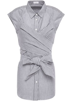 Brunello Cucinelli Woman Crossover Striped Cotton And Silk-blend Shirt Dark Gray