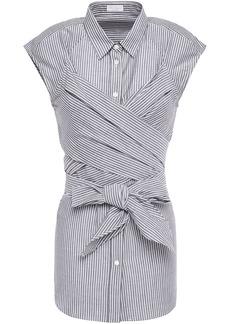 Brunello Cucinelli Woman Crossover Striped Cotton And Silk-blend Shirt Dark Gray