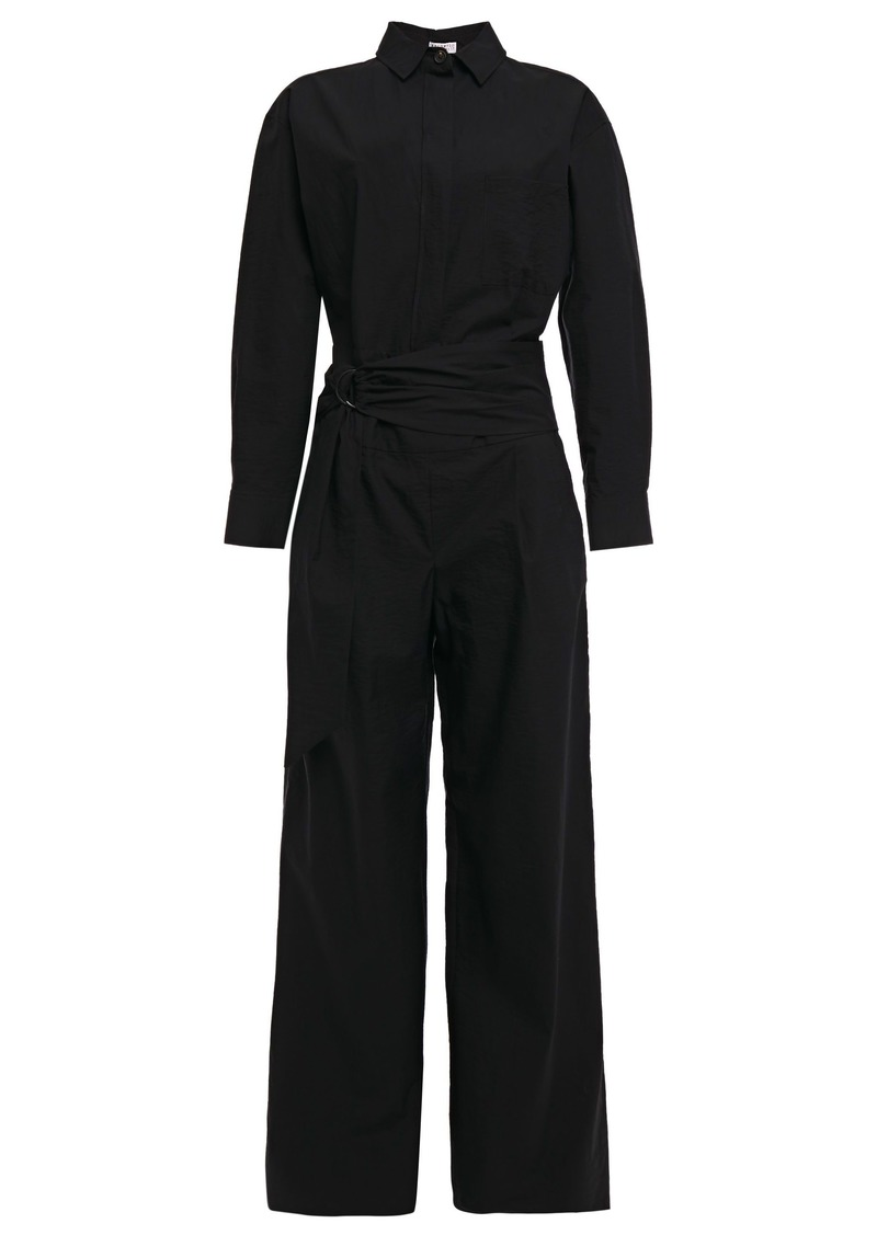 Brunello Cucinelli Woman Cutout Bead-embellished Cotton-blend Jumpsuit Black