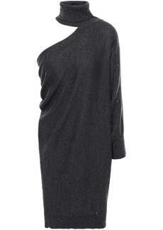 Brunello Cucinelli Woman Cutout Draped Cashmere And Silk-blend Mini Dress Charcoal