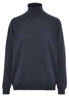 Brunello Cucinelli Woman Open-back Embellished Cashmere Turtleneck Sweater Navy