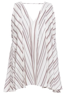 Brunello Cucinelli Woman Cutout Pleated Striped Silk Blouse Ivory