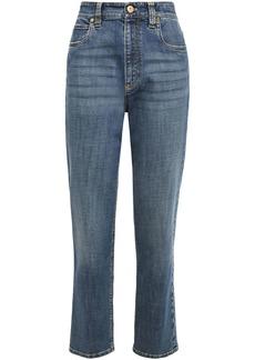 Brunello Cucinelli Woman Distressed High-rise Straight-leg Jeans Mid Denim