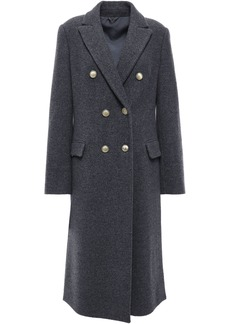 Brunello Cucinelli Woman Double-breasted Bead-embellished Cashmere-felt Coat Dark Gray