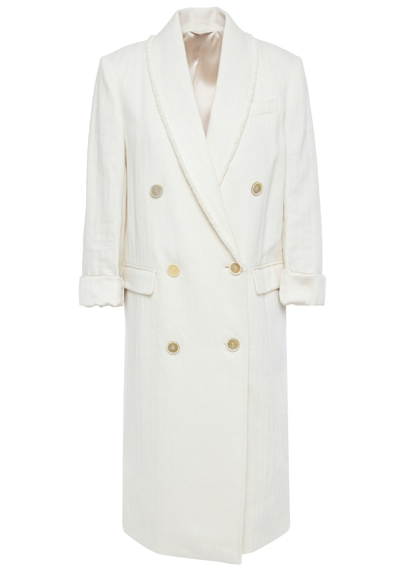 Brunello Cucinelli Woman Double-breasted Bead-embellished Cotton And Linen-blend Coat Cream