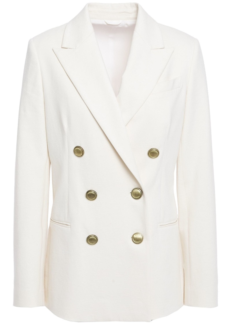 Brunello Cucinelli Woman Double-breasted Bead-embellished Cotton-jersey Blazer Off-white