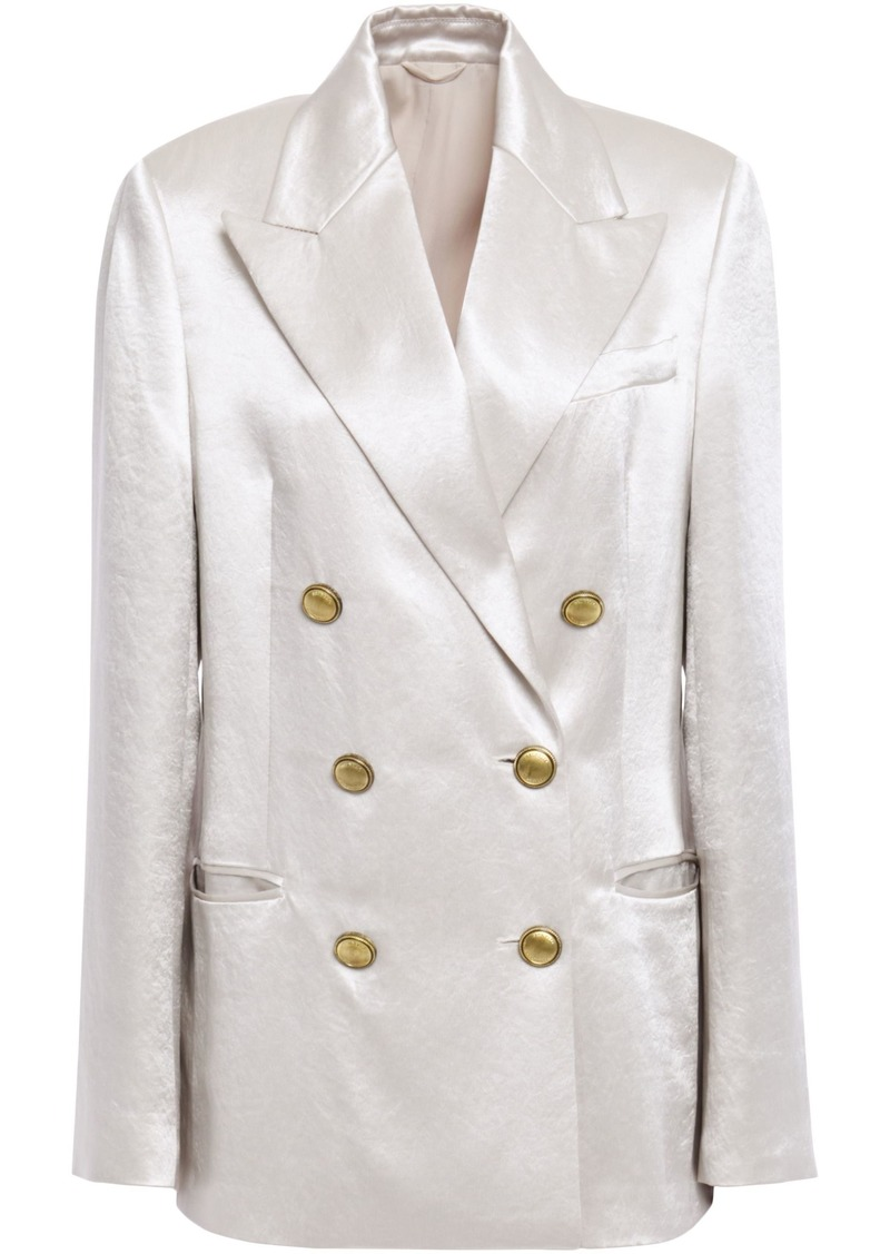 Brunello Cucinelli Woman Double-breasted Bead-embellished Crinkled-satin Blazer Off-white