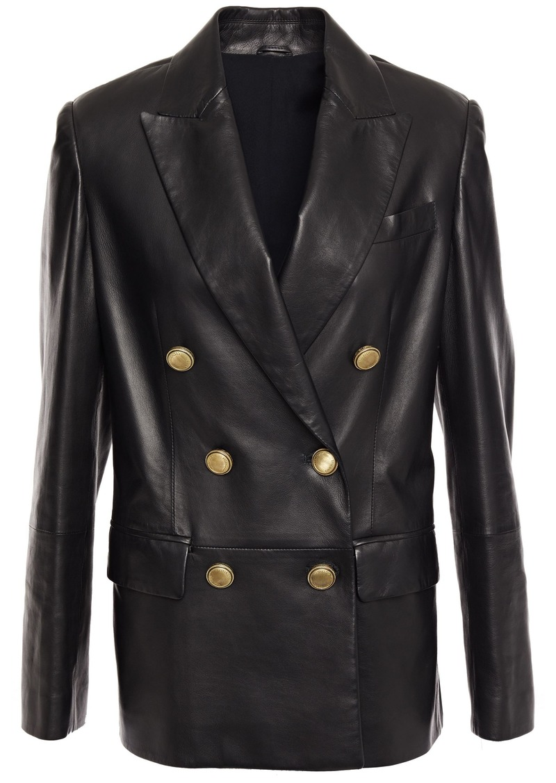 Brunello Cucinelli Woman Double-breasted Bead-embellished Leather Blazer Black