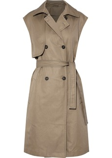 Brunello Cucinelli Woman Double-breasted Belted Cotton-blend Gabardine Vest Sand