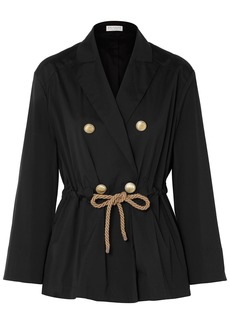 Brunello Cucinelli Woman Double-breasted Belted Cotton-blend Poplin Jacket Black