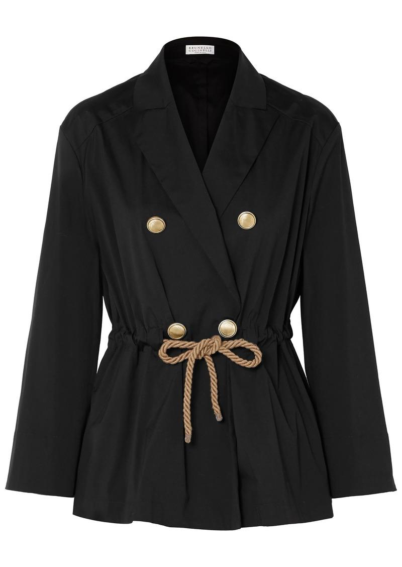 Brunello Cucinelli Woman Double-breasted Belted Cotton-blend Poplin Jacket Black