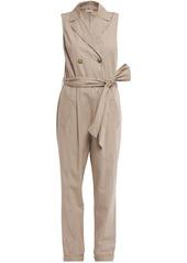 Brunello Cucinelli Woman Double-breasted Belted Cotton-poplin Jumpsuit Beige