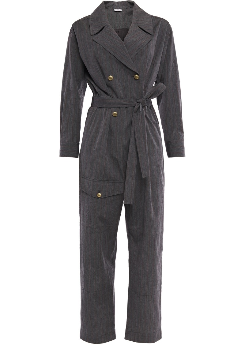 Brunello Cucinelli Woman Double-breasted Belted Pinstriped Wool Jumpsuit Dark Gray