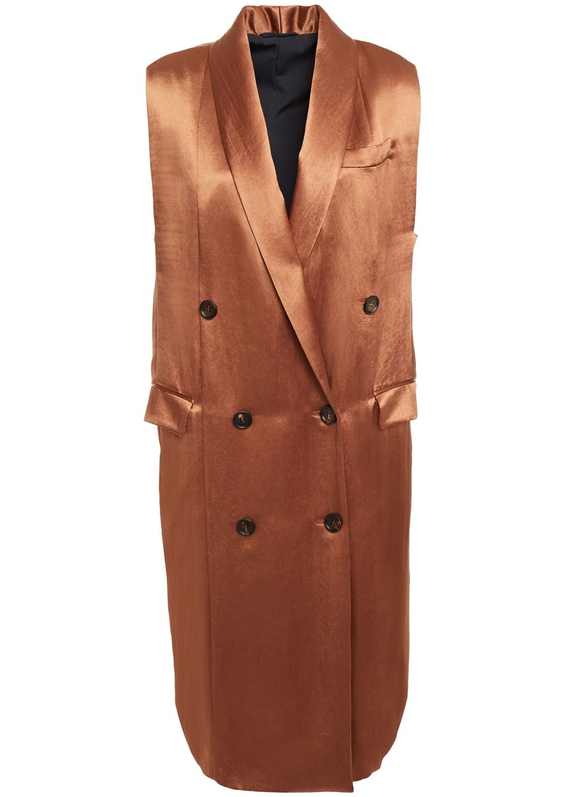 Brunello Cucinelli Woman Double-breasted Crinkled-satin Vest Copper