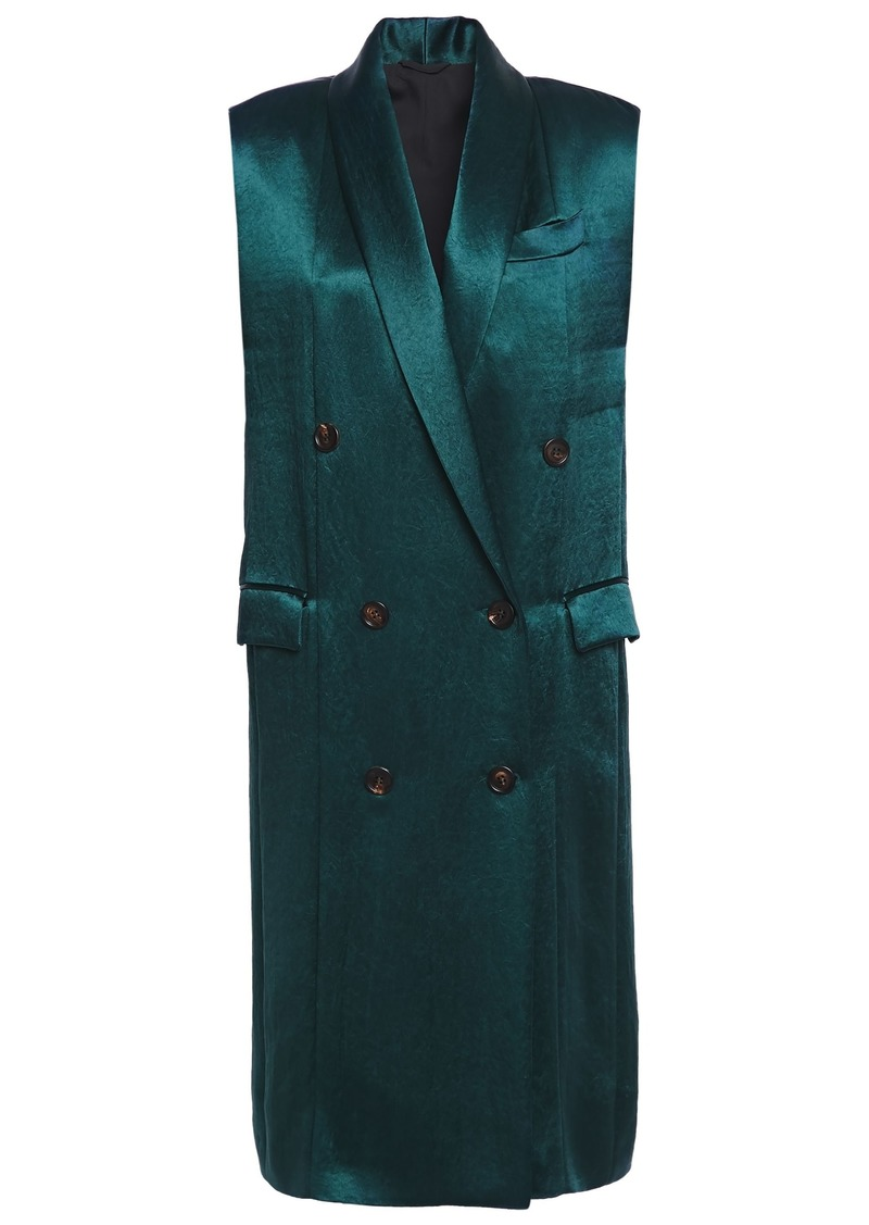 Brunello Cucinelli Woman Double-breasted Crinkled-satin Vest Emerald