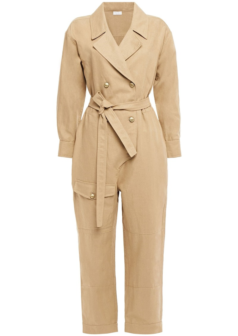 Brunello Cucinelli Woman Double-breasted Cropped Linen And Cotton-blend Twill Jumpsuit Sand