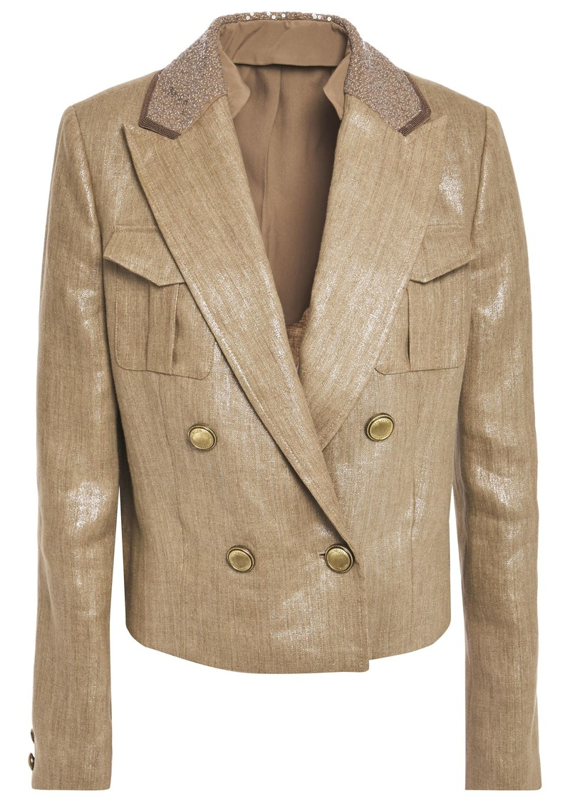 Brunello Cucinelli Woman Double-breasted Embellished Coated-linen Blazer Sand