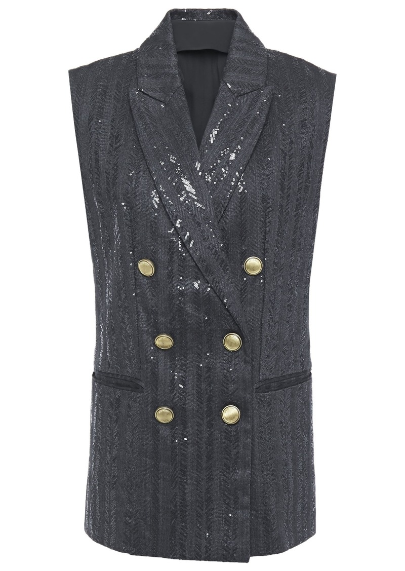 Brunello Cucinelli Woman Double-breasted Embellished Herringbone Cotton-blend Vest Charcoal
