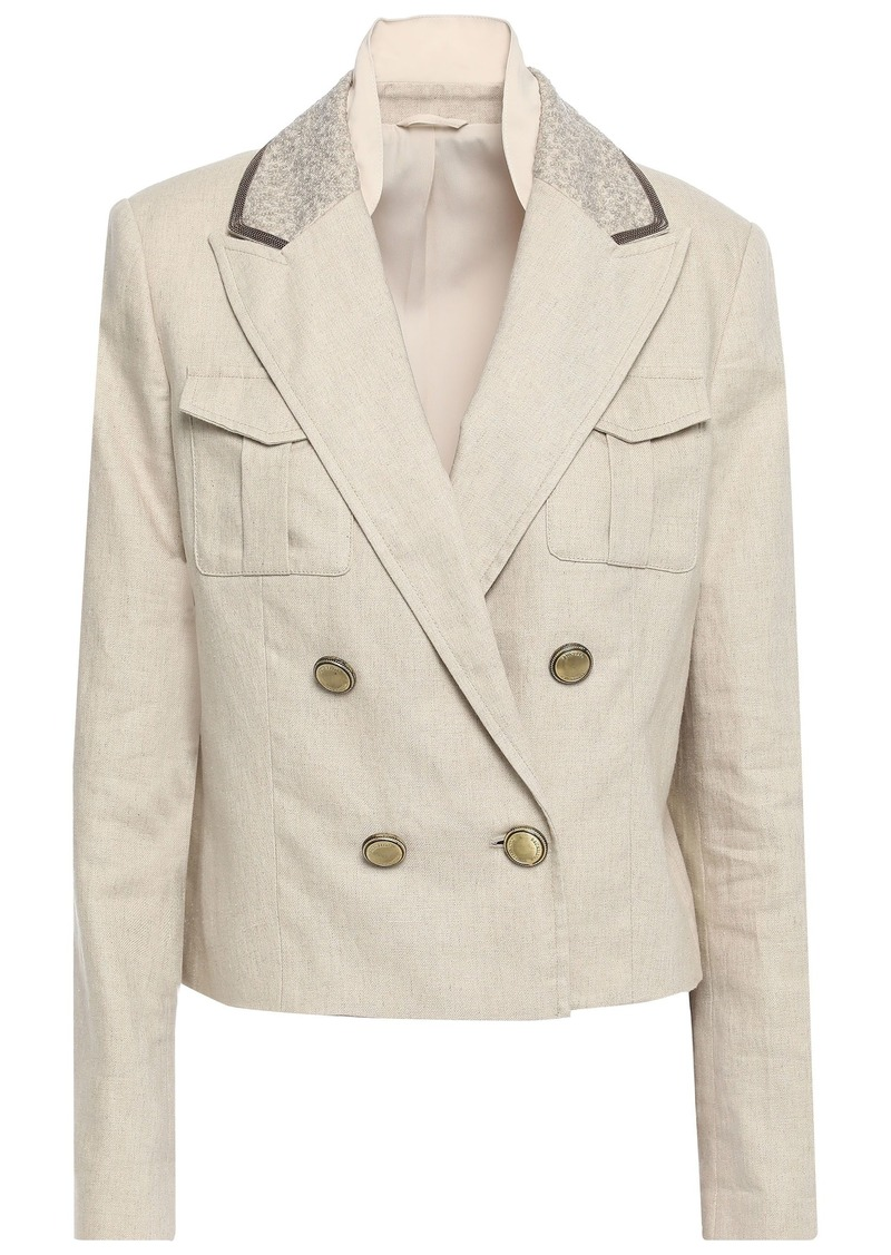 Brunello Cucinelli Woman Double-breasted Embellished Linen-blend Blazer Neutral