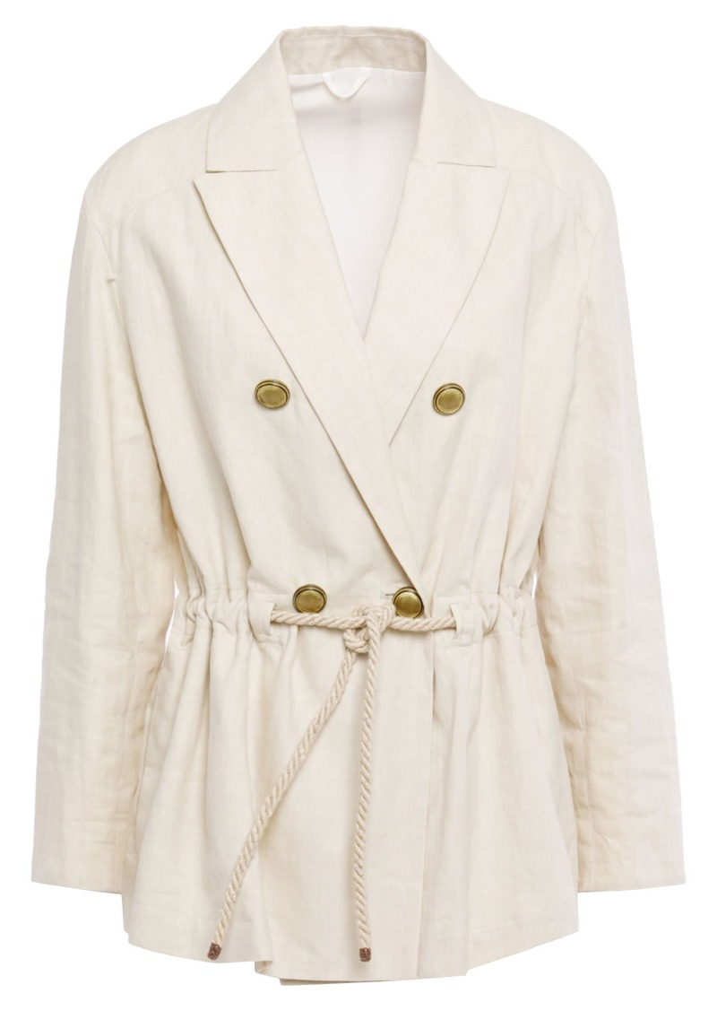 Brunello Cucinelli Woman Double-breasted Gathered Bead-embellished Linen And Cotton-blend Blazer Cream