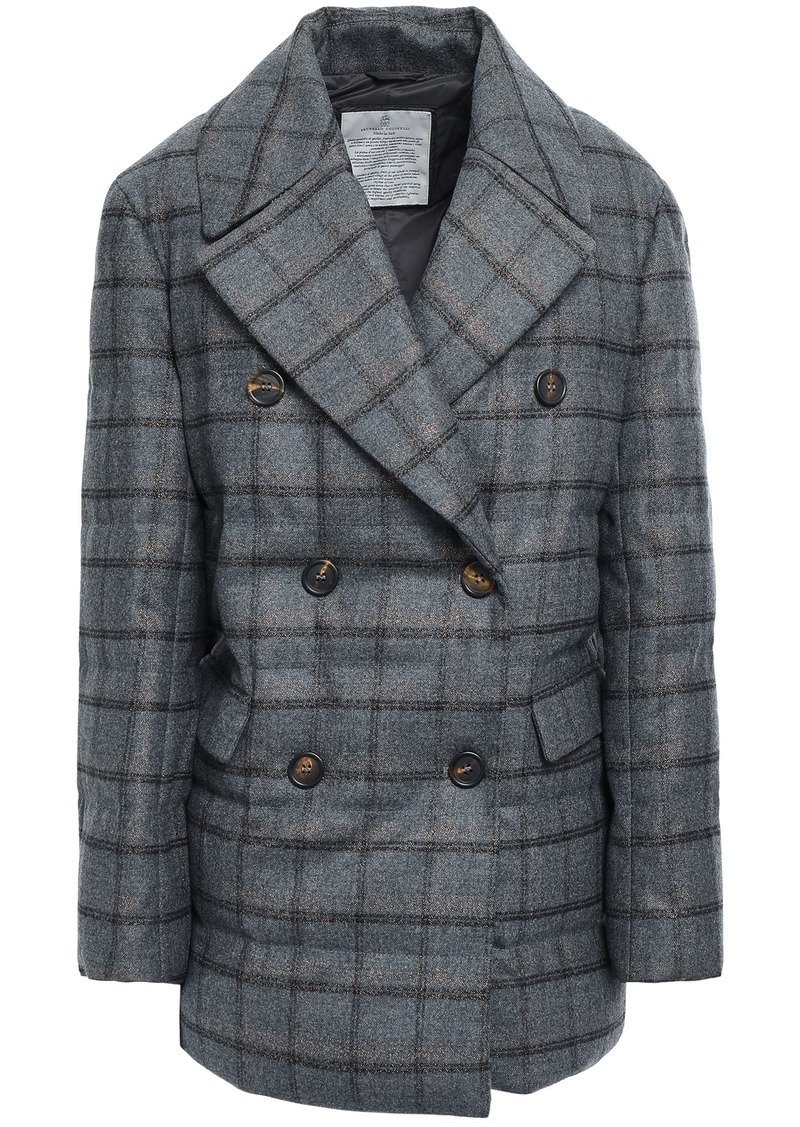 Brunello Cucinelli Woman Double-breasted Metallic Checked Wool-blend Down Coat Anthracite