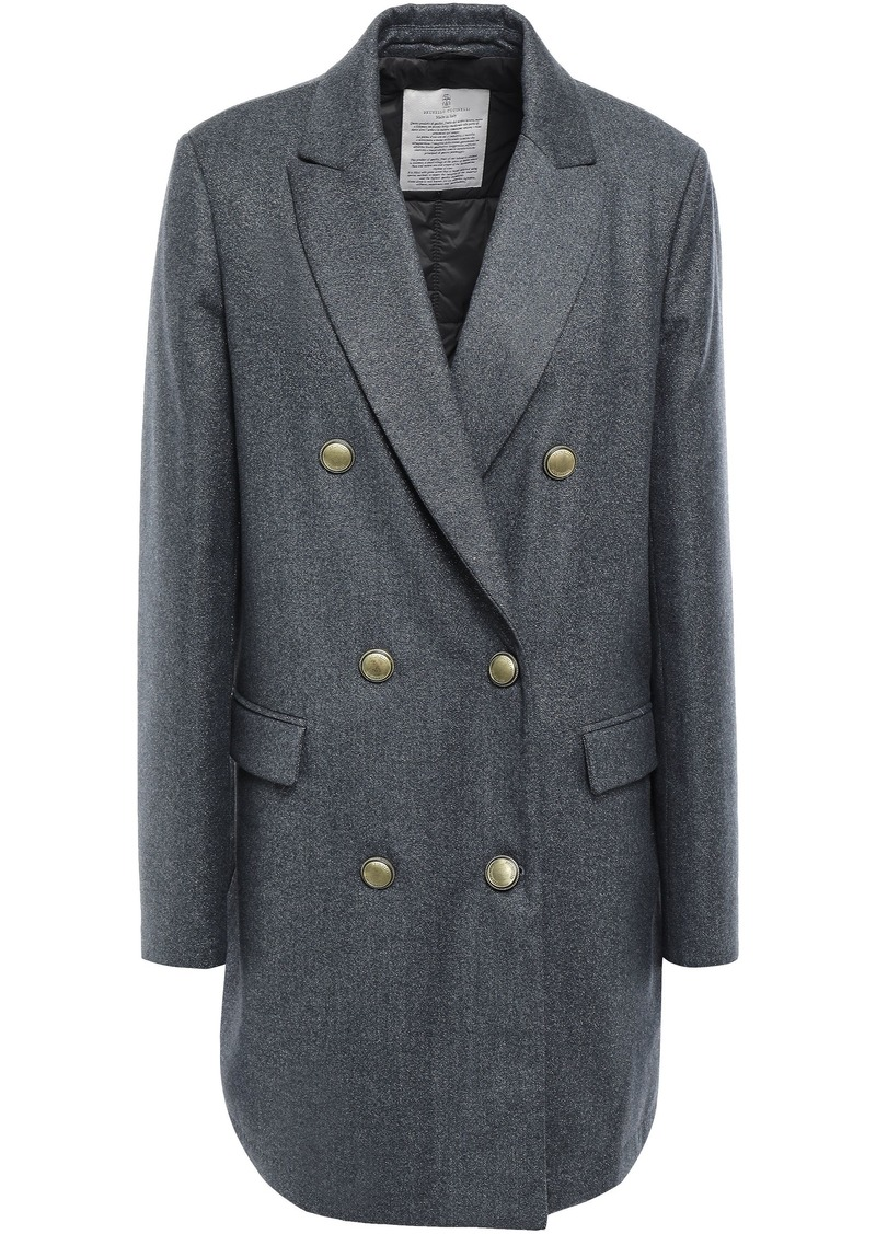 Brunello Cucinelli Woman Double-breasted Metallic Wool-blend Coat Anthracite