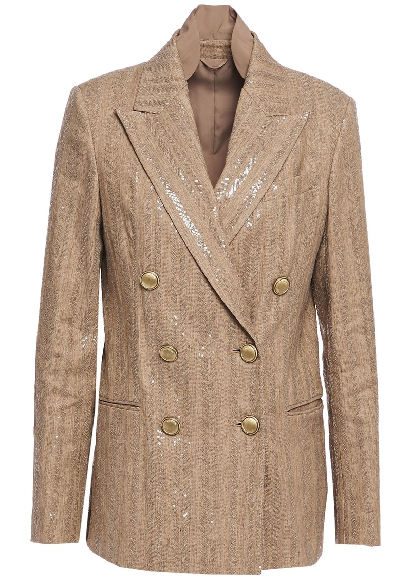 Brunello Cucinelli Woman Double-breasted Sequin-embellished Herringbone Cotton-blend Blazer Sand