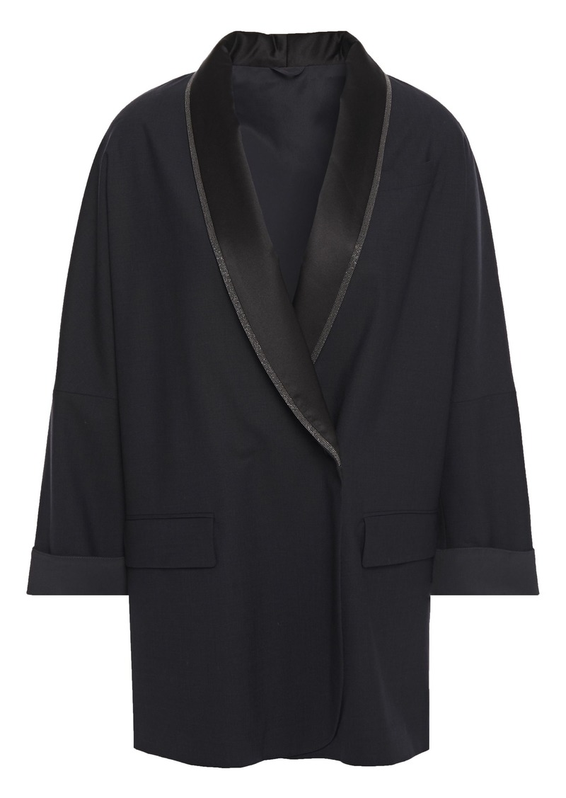 Brunello Cucinelli Woman Double-breasted Silk Satin-trimmed Bead-embellished Wool-blend Blazer Midnight Blue