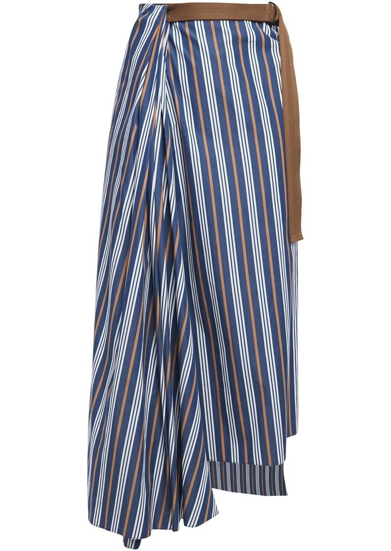 Brunello Cucinelli Woman Draped Wrap-effect Striped Cotton-poplin Midi Skirt Navy