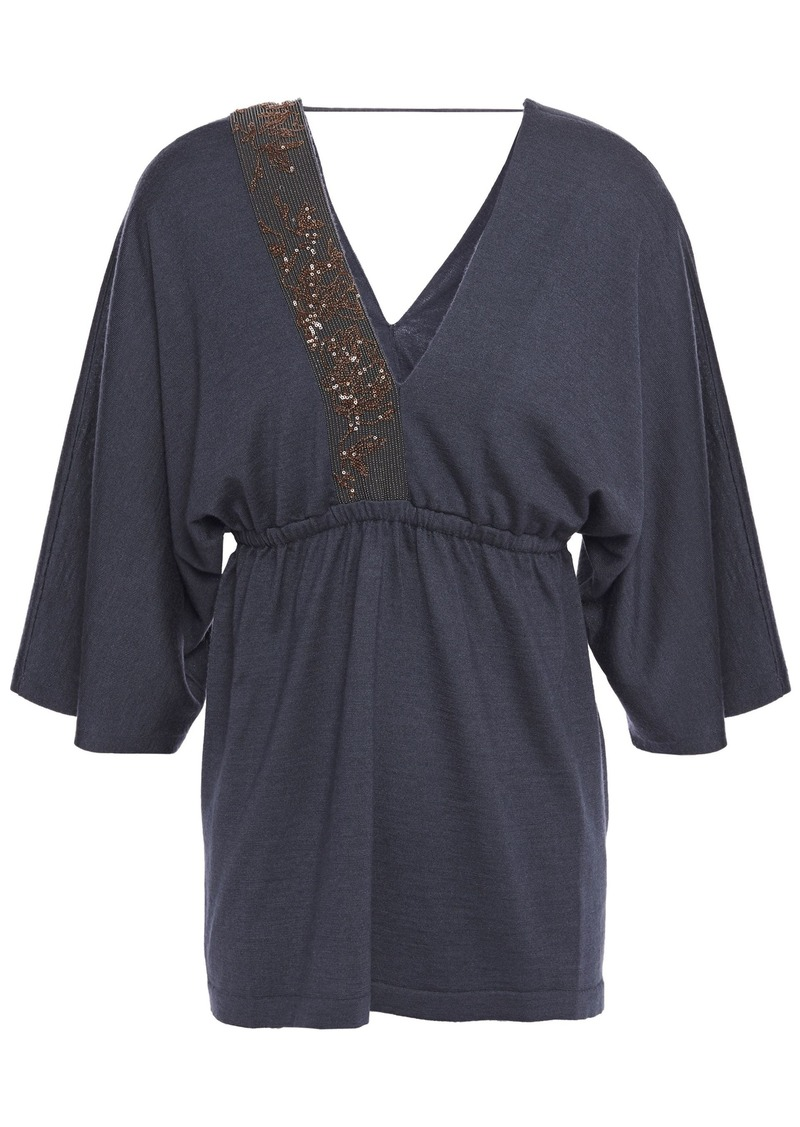 Brunello Cucinelli Woman Embellished Cashmere And Silk-blend Top Navy