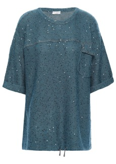 Brunello Cucinelli Woman Embellished Cashmere And Silk-blend Top Petrol