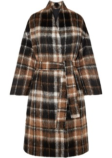 Brunello Cucinelli Woman Embellished Checked Alpaca And Wool-blend Coat Brown