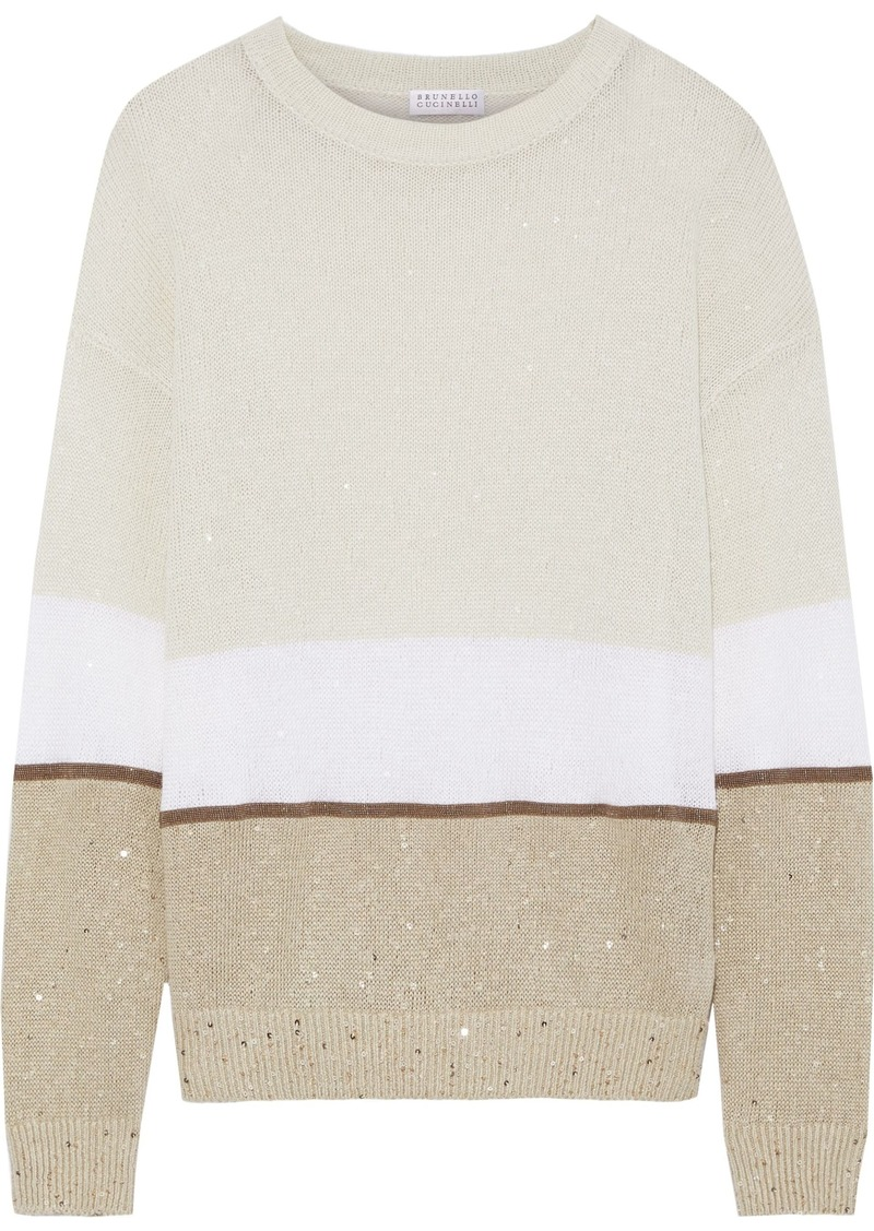 Brunello Cucinelli Woman Embellished Color-block Linen And Silk-blend Sweater Ecru