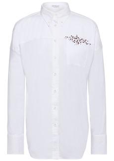 Brunello Cucinelli Woman Embellished Cotton-blend Poplin Shirt White
