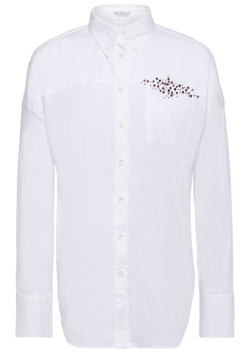 Brunello Cucinelli Woman Embellished Cotton-blend Poplin Shirt White
